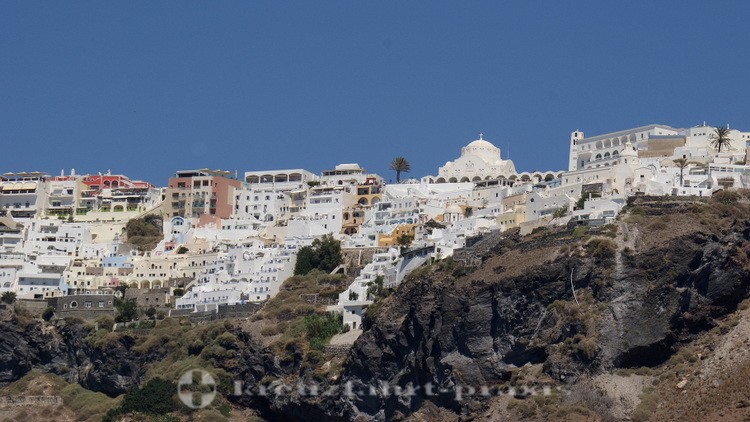 Santorini - Fira with the Orthodox Cathedral seen from the ship