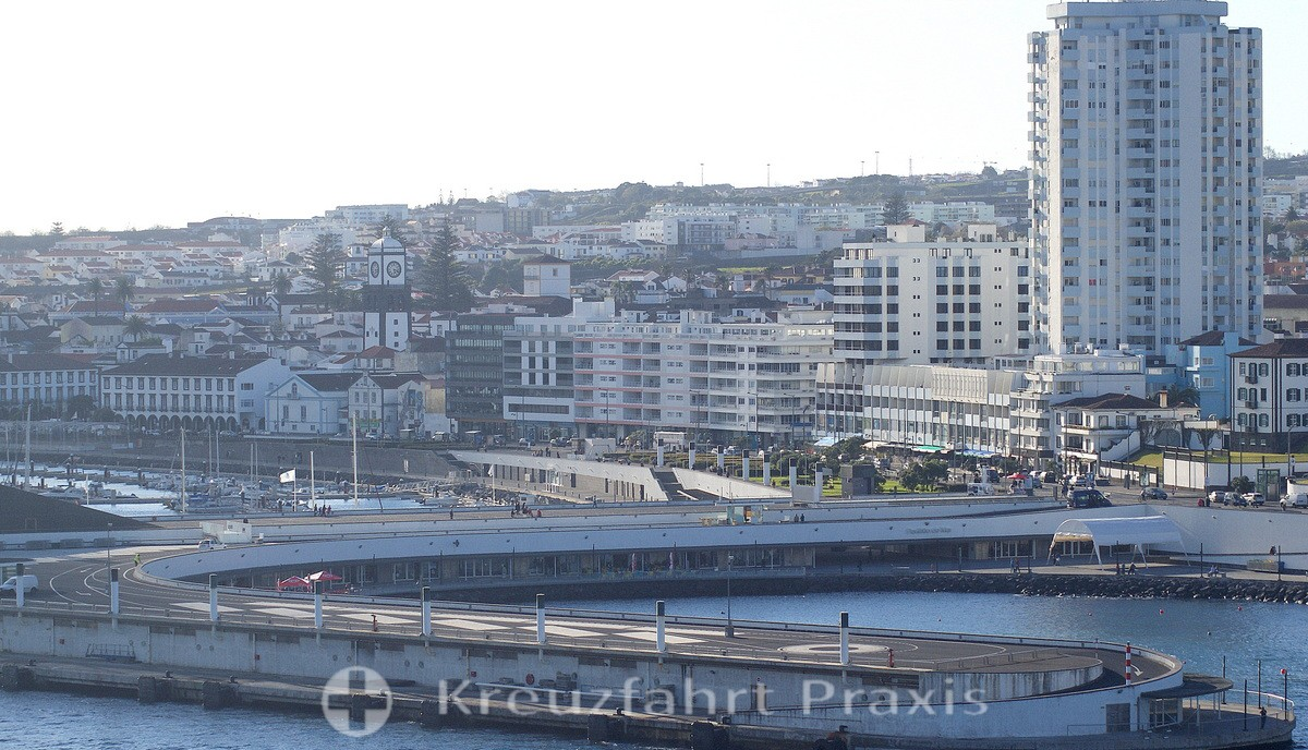 Ponta Delgada - skyscrapers and historic buildings