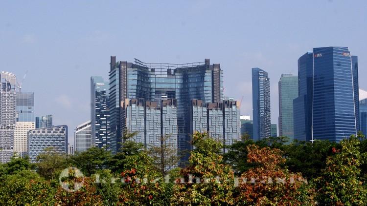Blick auf Singapurs Financial District
