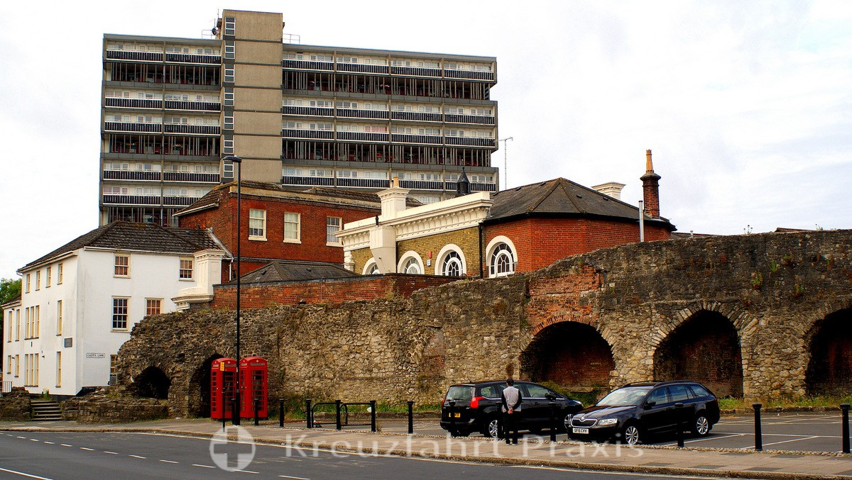 Southampton - Remains of the city walls at Castle Gate