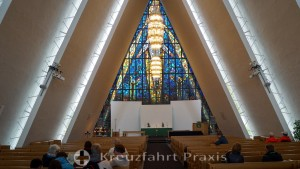 Arctic Cathedral - nave and stained glass window