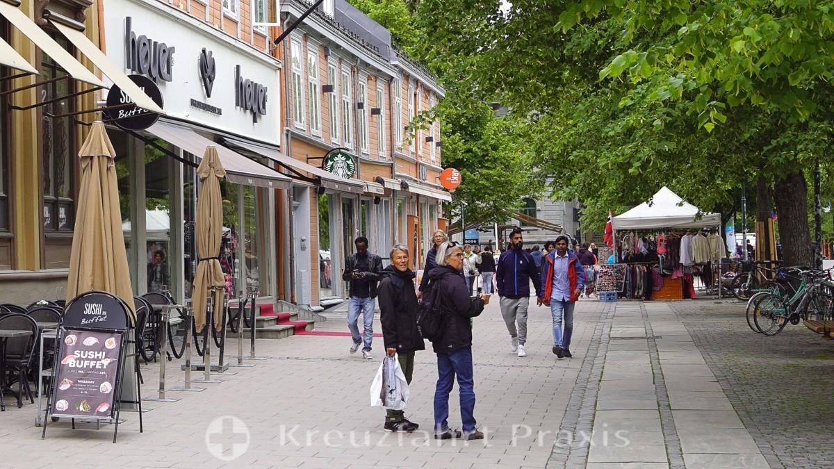 Die Munkegata in Trondheims Zentrum